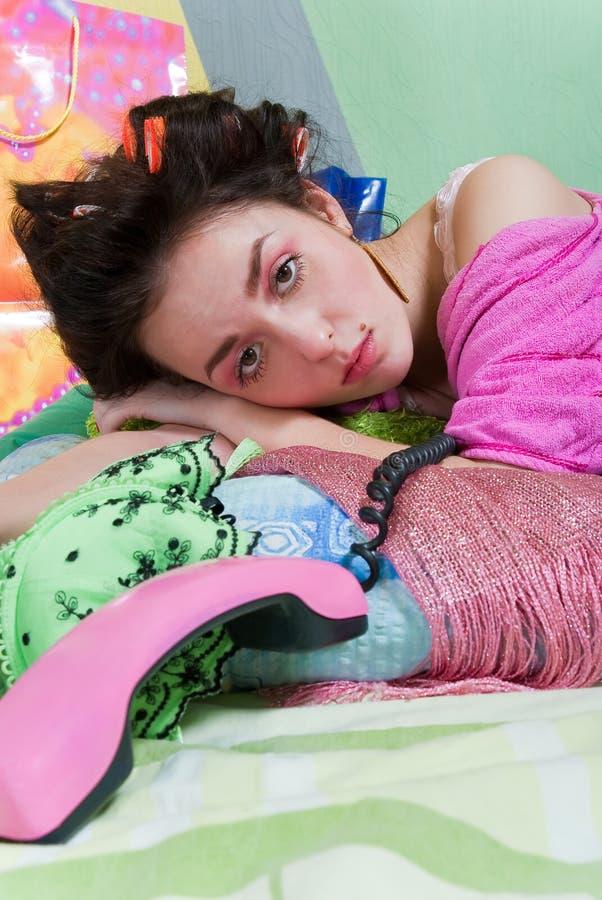 Free Sad Girl With Phone Stock Photos - 13233533