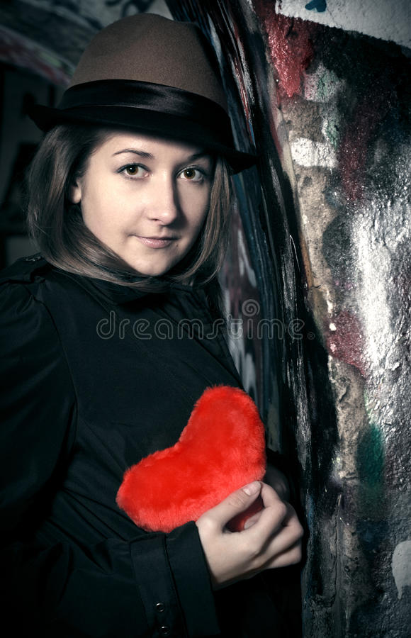 Free Sad Girl With Toy Heart Royalty Free Stock Photography - 17503517