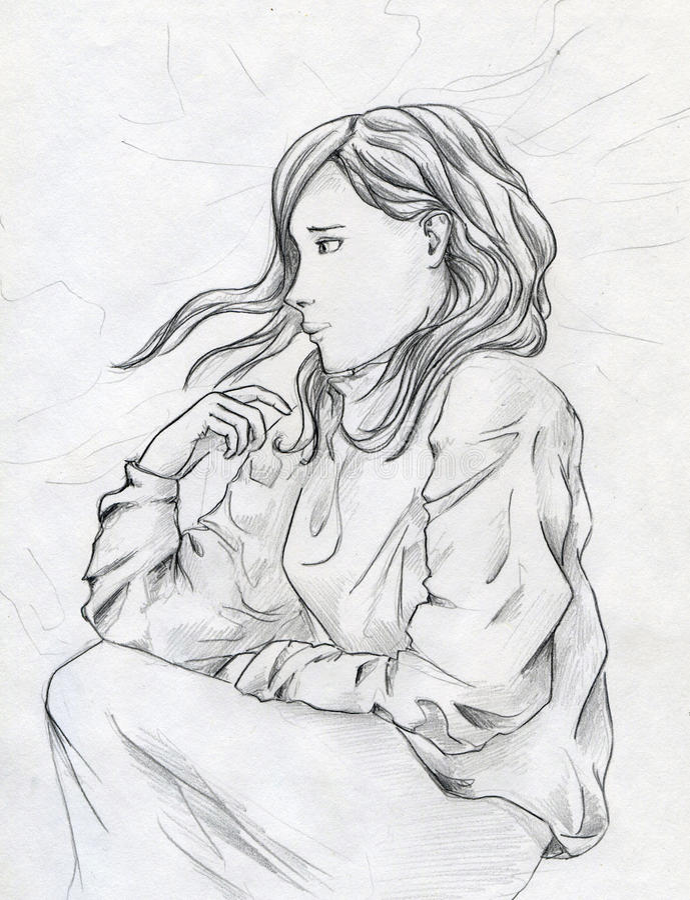 Download Sad girl stock illustration. Image of girl, woman, depression - 31611063