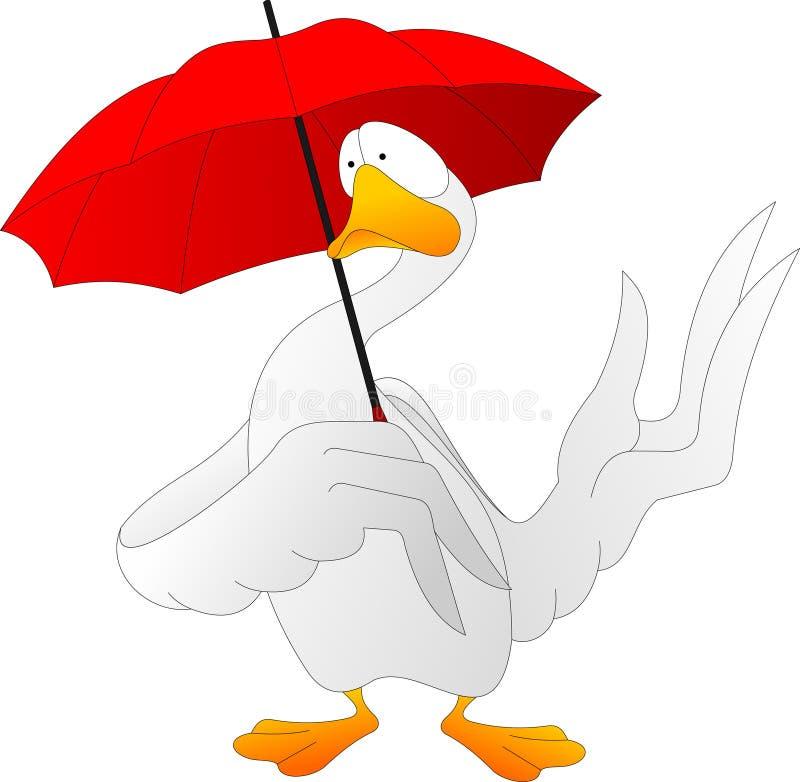 Sad goose under a red umbrella royalty free illustration
