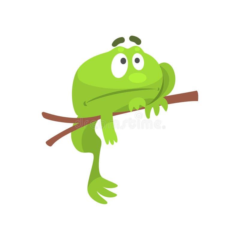 Sad Green Frog Funny Character Hanging From The Branch Childish Cartoon Illustration vector illustration