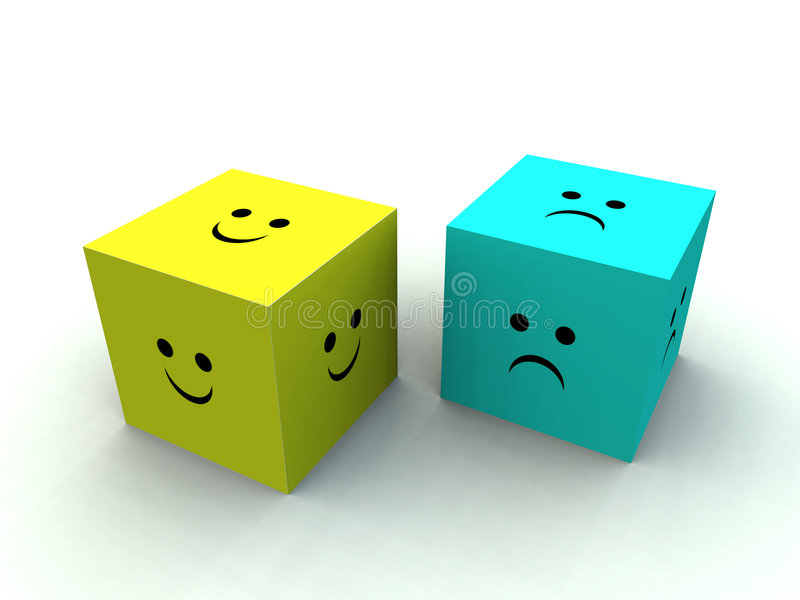 Download Sad And Happy Cube stock illustration. Image of happy - 1118515