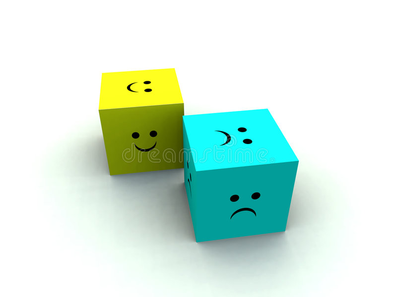 Sad And Happy Cube 3 Stock Image