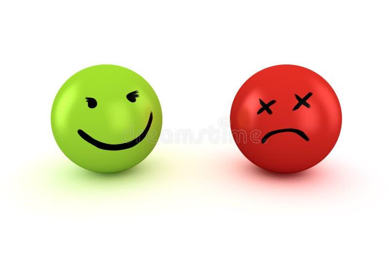 Sad and happy emoticons stock illustration