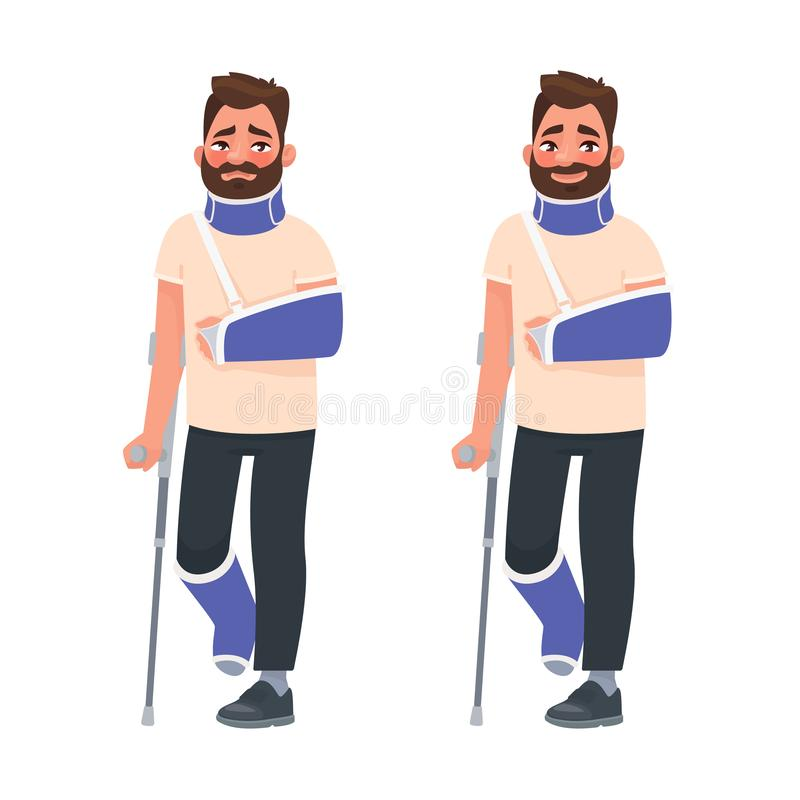 Sad and happy man with a broken arm and leg in a cast with a crutch and a fixing collar around his neck. Fracture limb. Injury. Vector illustration in cartoon royalty free illustration