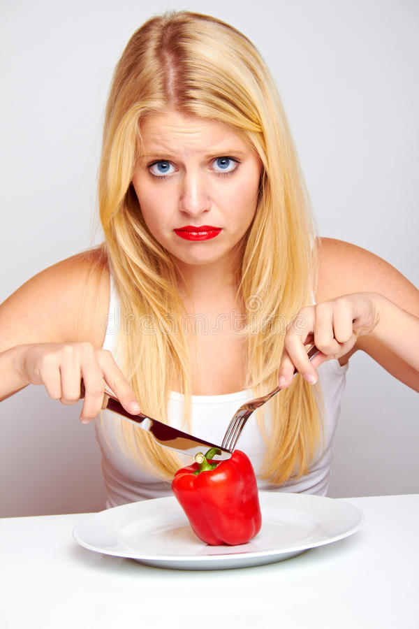 Free Sad Healthy Woman With Red Pepper Stock Photos - 26478863