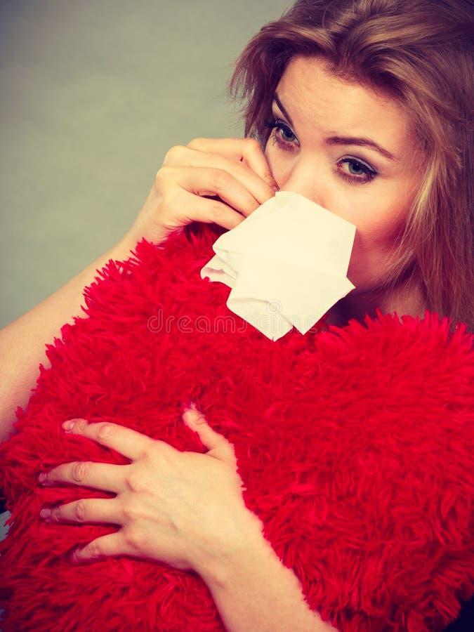 Sad, heartbroken woman crying having depression stock image