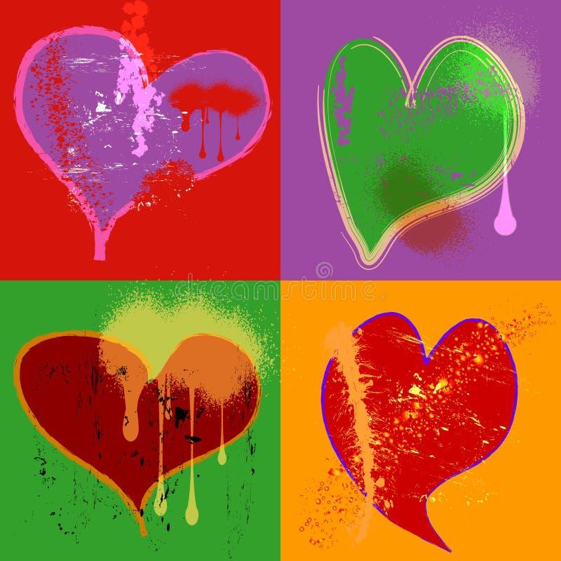 SAD hjärtor vektor illustrationer