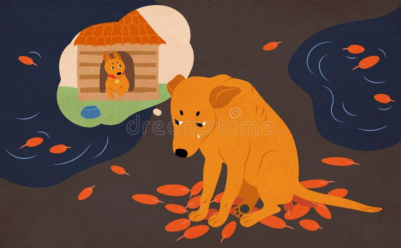 Sad homeless dog sitting on street covered with autumn leaves and puddles, crying and dreaming of adoption and home royalty free illustration
