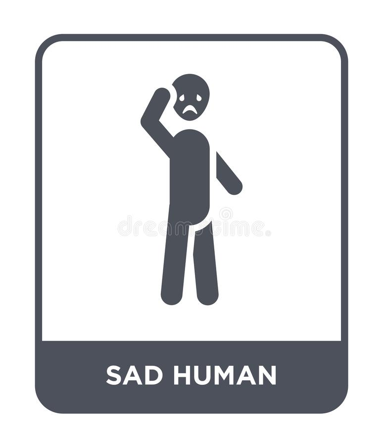 sad human icon in trendy design style. sad human icon isolated on white background. sad human vector icon simple and modern flat royalty free illustration