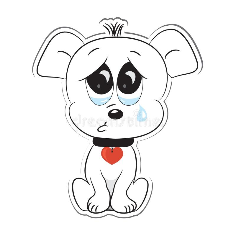 SAD hund etikett stock illustrationer