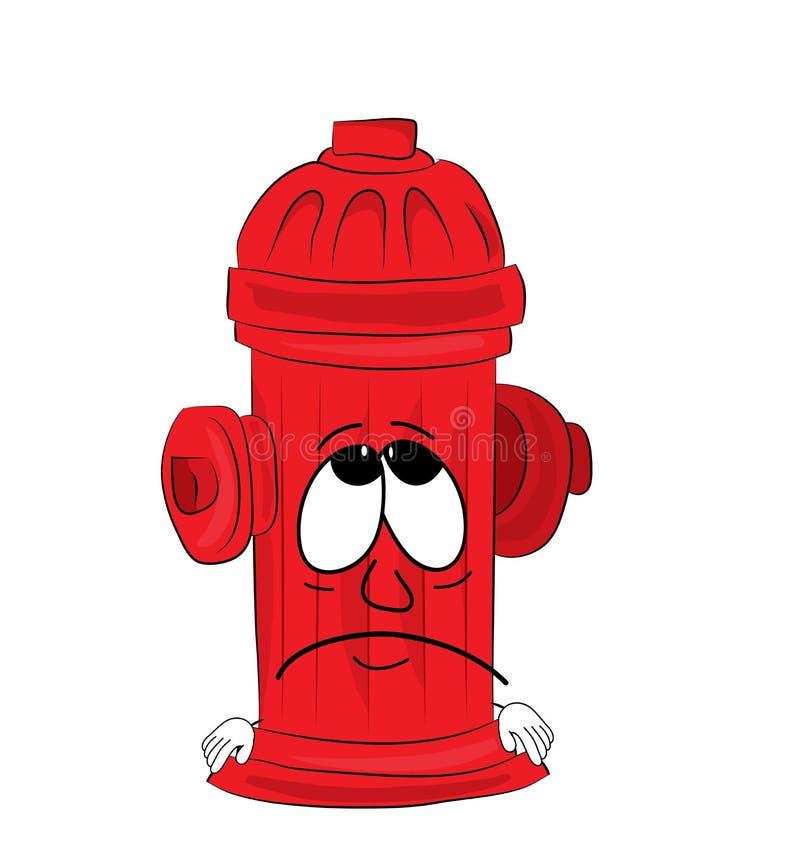 Sad hydrant cartoon. Vector illustration of sad hydrant cartoon stock illustration