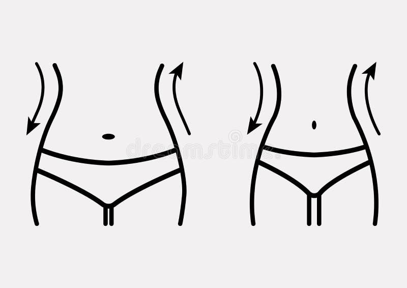 Sad?a i schudni?cie kobiety posta? przed i po ci??ar strat?, ?e?skiego cia?a sylwetka Kobiety talie, ci??ar strata, dieta, talii  ilustracji