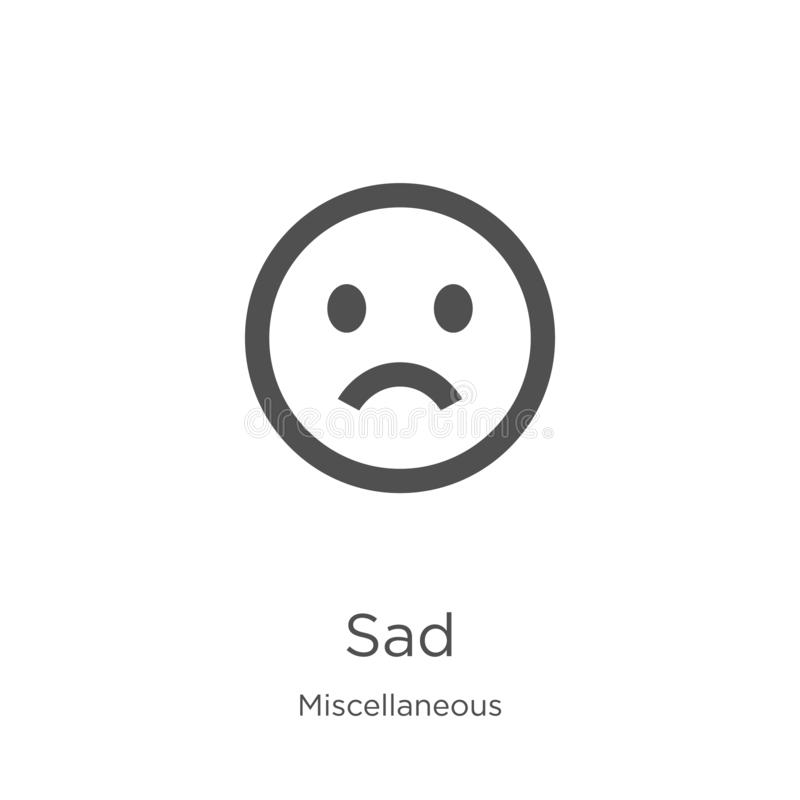 sad icon vector from miscellaneous collection. Thin line sad outline icon vector illustration. Outline, thin line sad icon for vector illustration