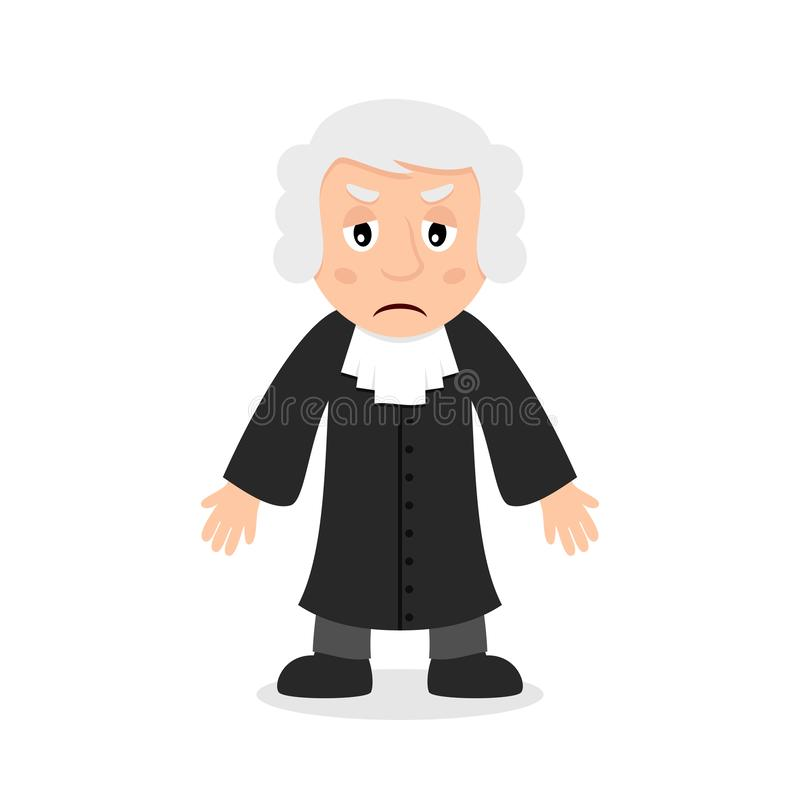 Sad Judge Cartoon Character. Sad judge or magistrate cartoon character, isolated on white background. Please check my portfolio for ten versions of the same stock illustration