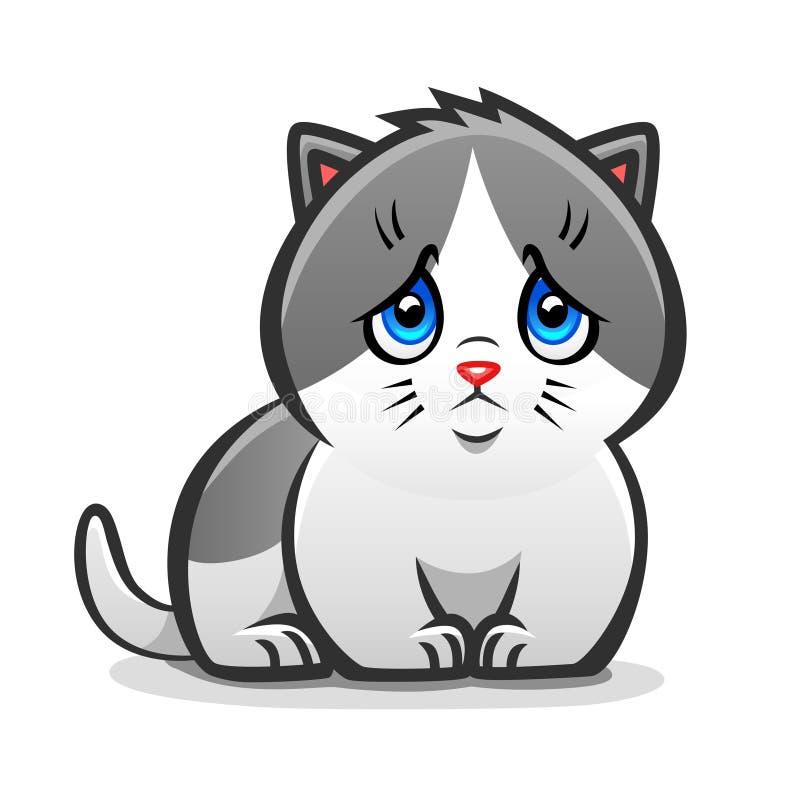 SAD kattunge stock illustrationer