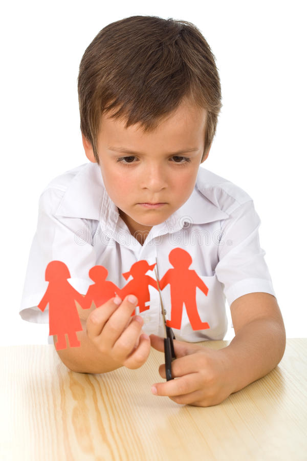 Free Sad Kid Cutting Up Paper People Family Royalty Free Stock Image - 15366116