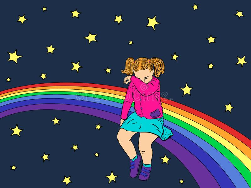 Sad kid on the rainbow. The girl was offended, sad and crying. Vector vector illustration