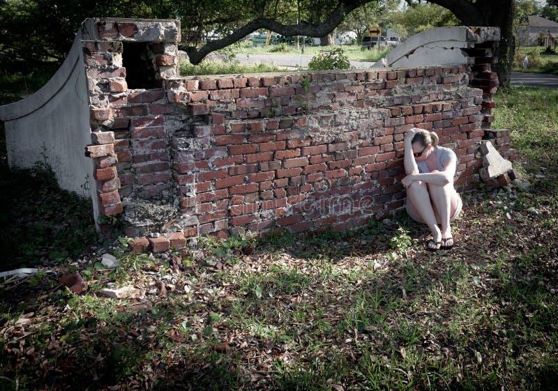 SAD kvinna för fördjupning fotografering för bildbyråer