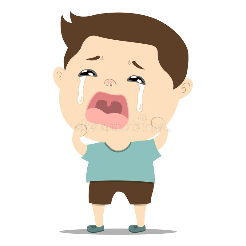 Sad Little Cute Baby Boy Crying Stock Vector ...