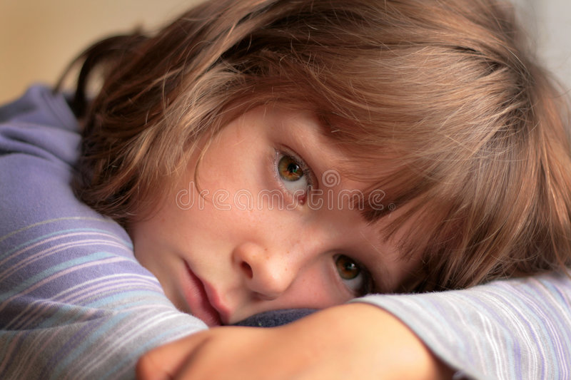 Download Sad little Girl stock image. Image of portrait, serious - 6691781