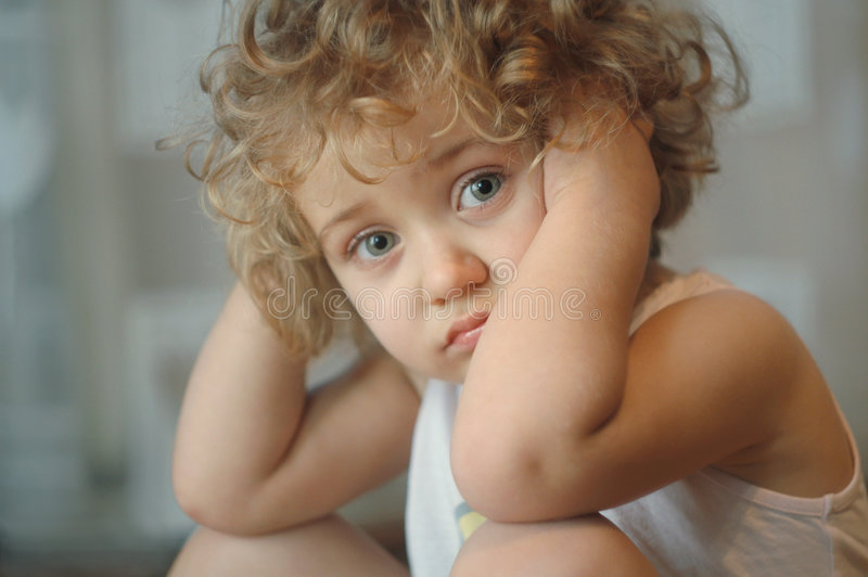 Sad little girl royalty free stock photo