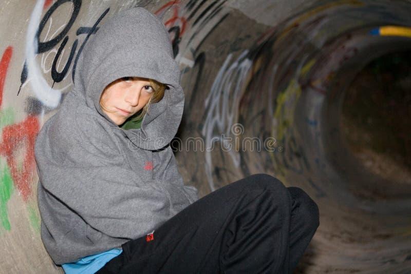 Sad lonely boy kid stock photos