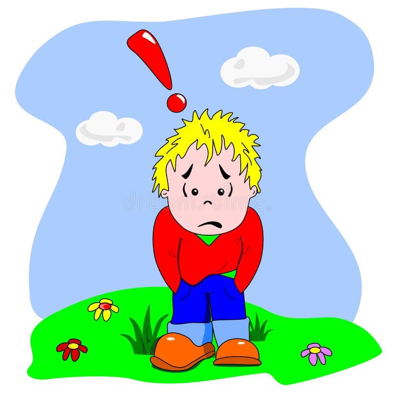 Sad & lonely cartoon boy vector illustration