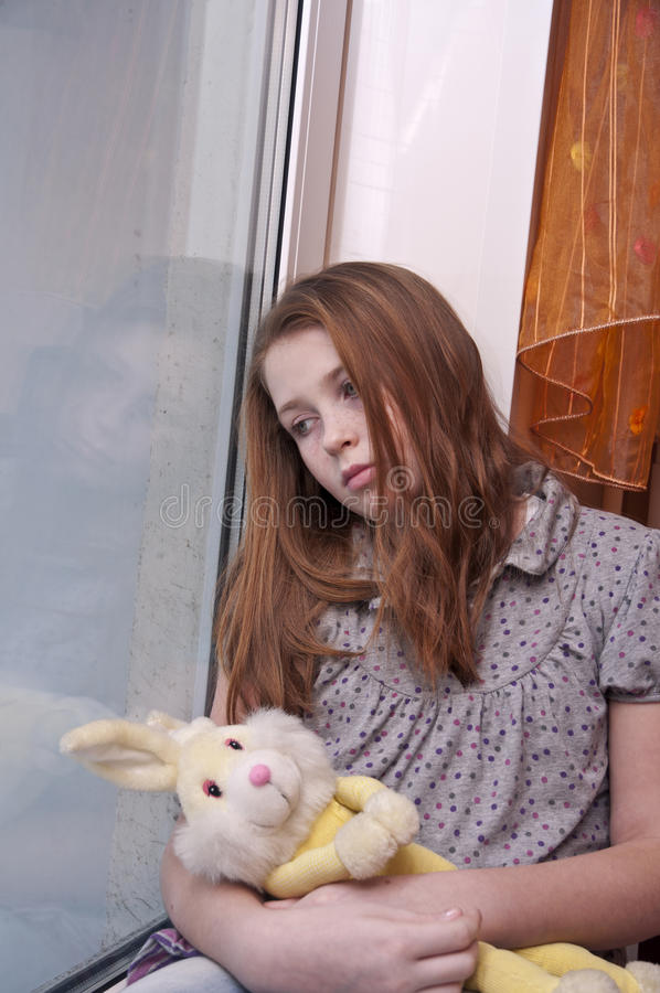 Sad lonely child royalty free stock photos