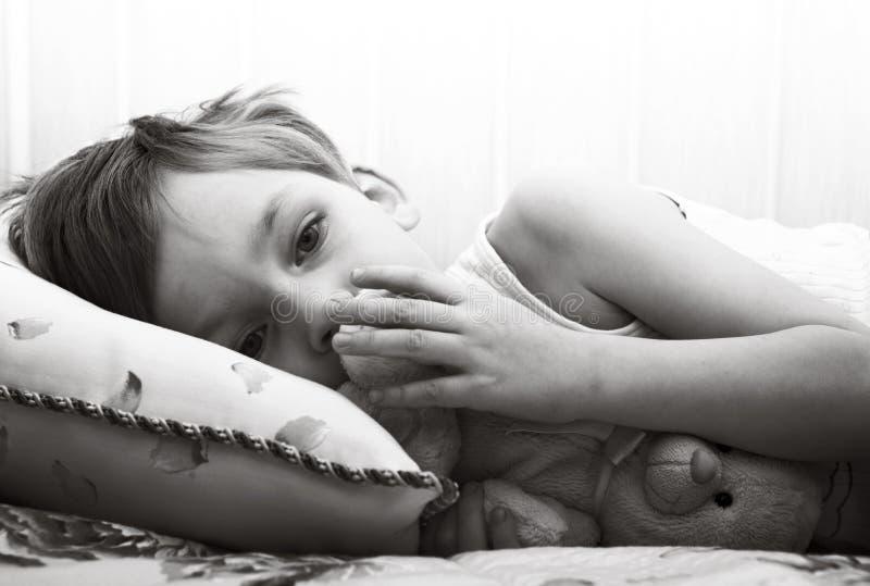 Sad lonely child stock image
