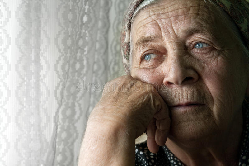Download Sad Lonely Pensive Old Senior Woman Stock Photo - Image of looking, eyes: 12781694
