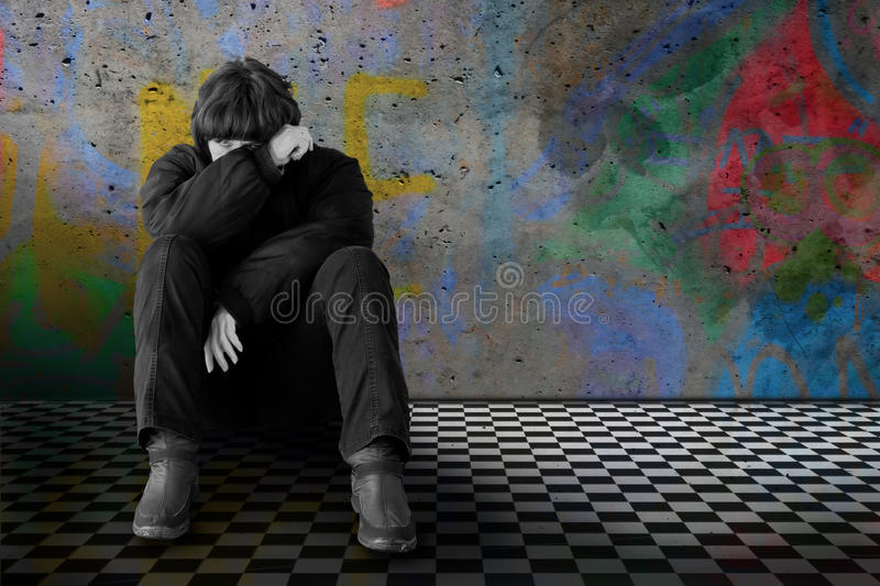 Sad lonely woman stock image