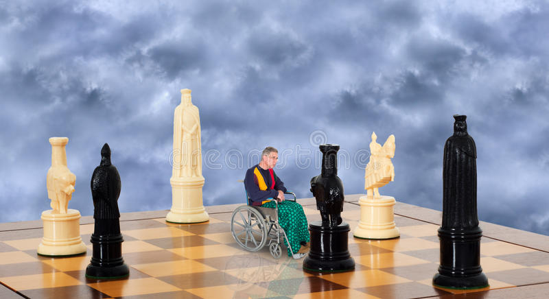 Sad Lonely Senior Elderly Man in Wheelchair, Aging. A sad lonely elderly old man sits in a wheelchair. Abstract concept for senior issues, aging, health care for stock photos