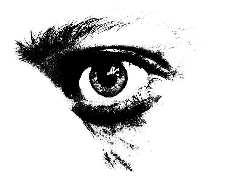 Sad look. A look of sad and feared woman or man in black and white graphic stock illustration
