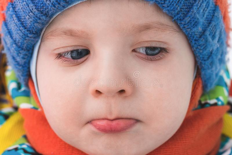 Frustrated little boy stock image