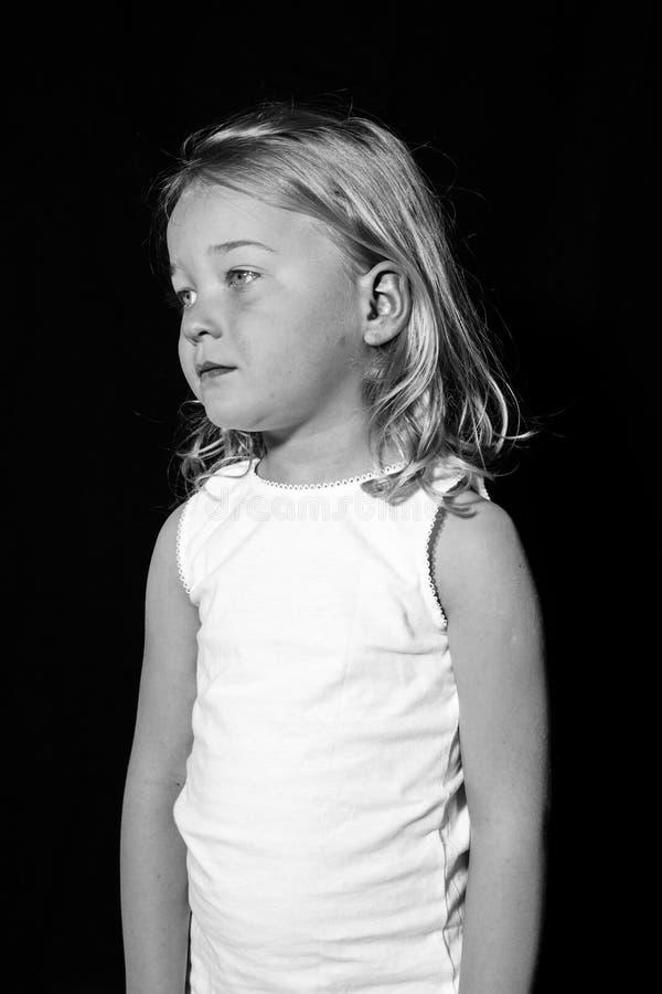 Sad looking girl. stock photos