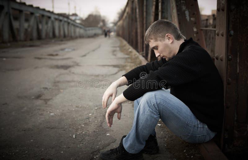 Sad man stock photo