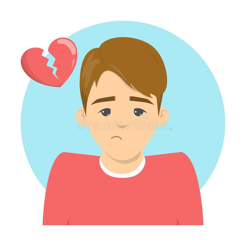 Sad man and broken heart above. Idea of divorce. End of love. Lonely upset male character. Isolated vector illustration in cartoon style stock illustration