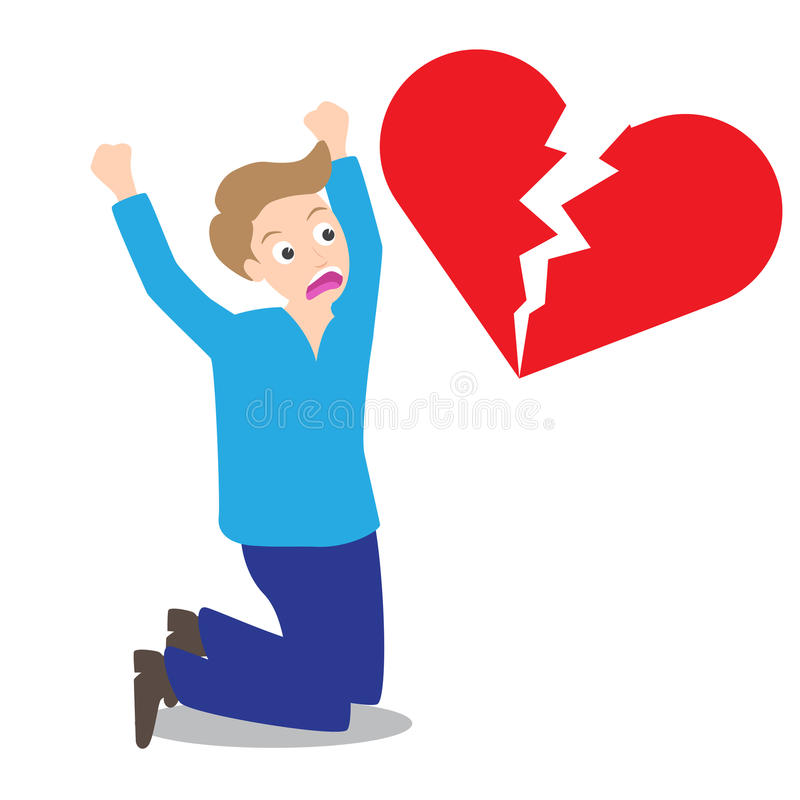 Sad man with broken heart shape background in concept of being broken heart.  royalty free illustration