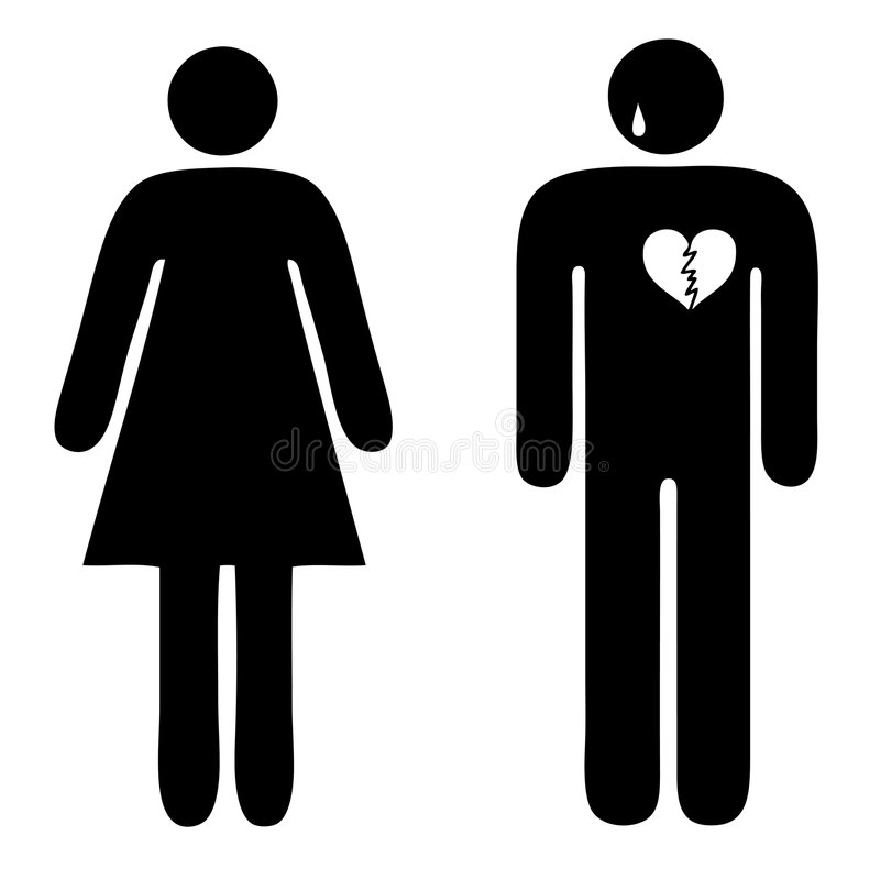 Sad man couple people vector broken heart. Vector image of a couple with the sad man royalty free illustration