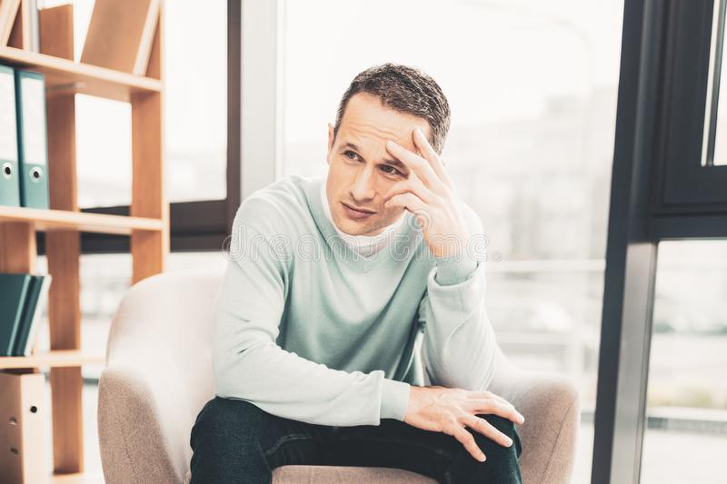 Sad man feeling anxiety after breakup royalty free stock image