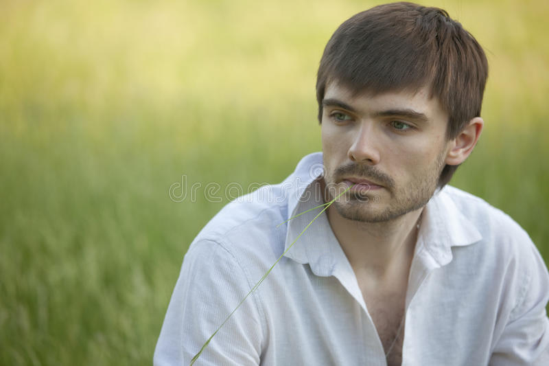 Download Sad man in field stock photo. Image of caucasian, causal - 19476120