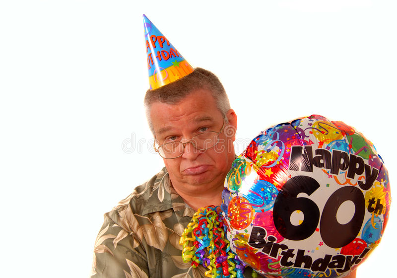 Download Sad Man Holding A Balloon For A 60th Birthday Part Stock Image - Image: 4794961