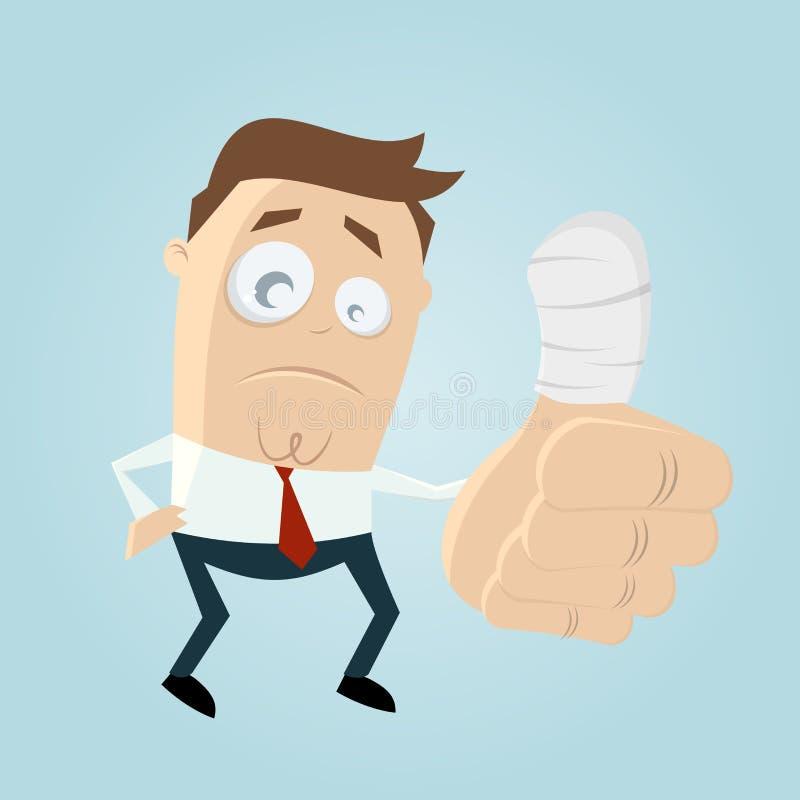Sad man with injured thumb vector illustration