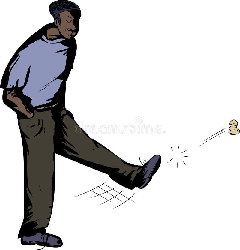 Sad Man Kicking Trash royalty free illustration