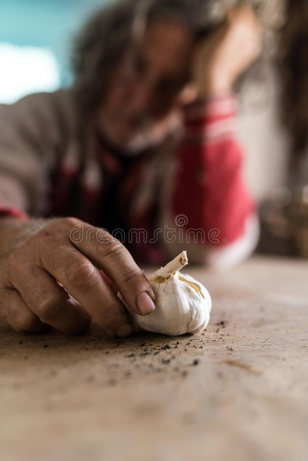 Sad man looking at bulb of garlic holding it with soiled hands royalty free stock photography