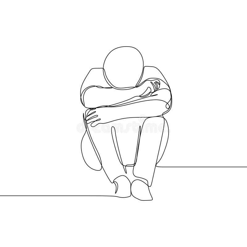 Sad man one line drawing vector illustration minimalist design stock illustration