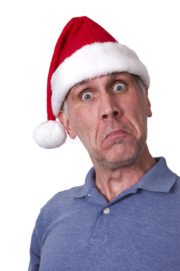 Sad Man Santa Claus Hat Merry Christmas Xmas. This is not a merry Christmas with this sad man! Bah! Humbug! Old Scrooge here also needs a shave. Maybe being stock photography