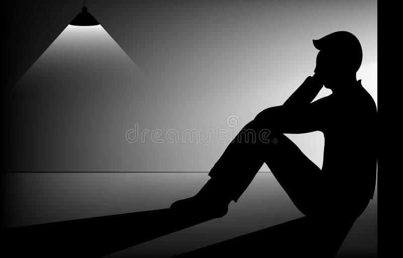Sad man. Sitting alone in dark room stock illustration