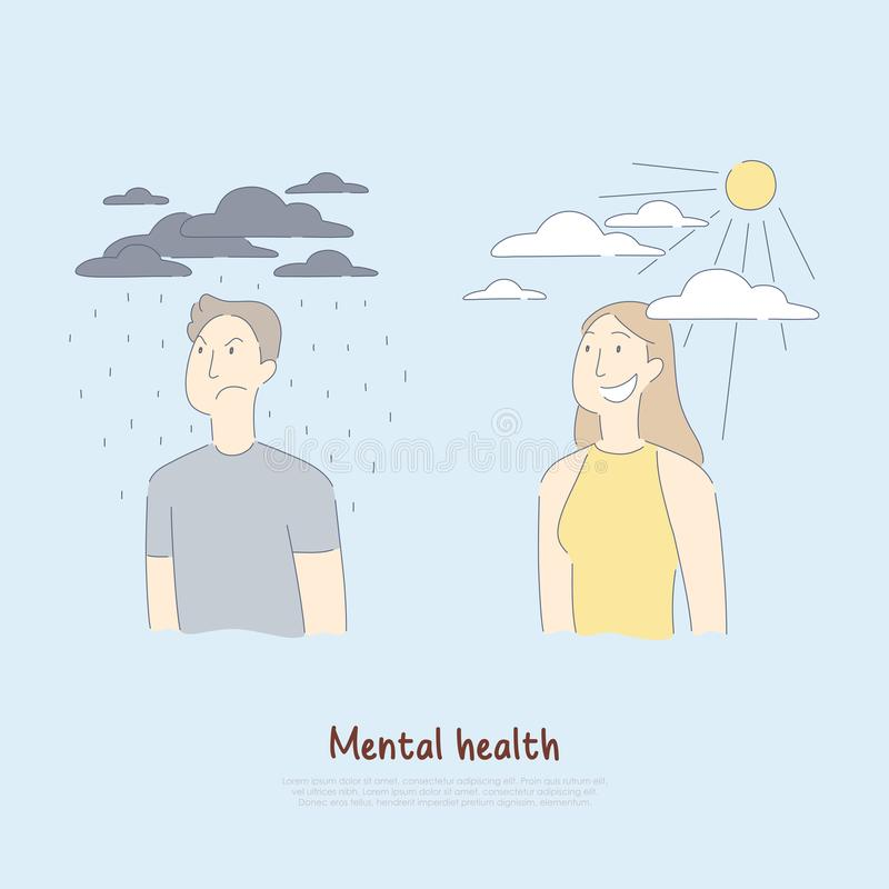 Sad man under raining clouds and happy woman, psychology, medical assistance, health care, mental condition banner vector illustration